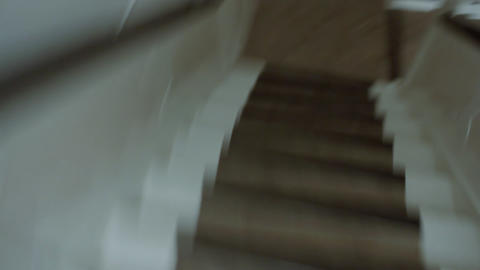Running down stairs POV Stock Video Footage