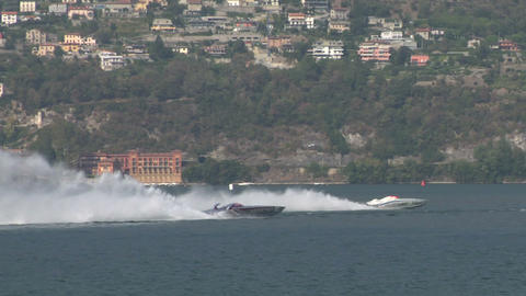 offshore race slow motion 01 Stock Video Footage