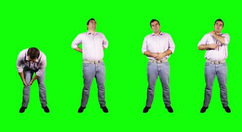 4 K Men Knee Back Stomach Shoulder Pain Full Body... Stock Video Footage