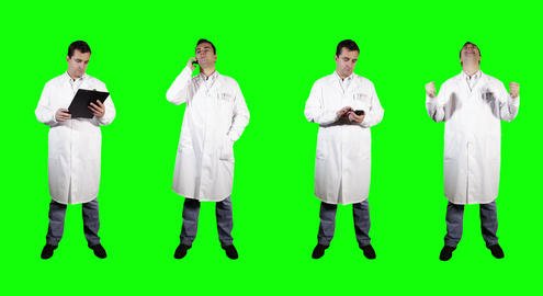 4 K Young Doctor Good News Greenscreen 4 Stock Video Footage