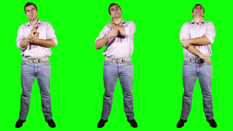 Men Wrist Shoulder Elbow Pain Bundle Full Body Greenscreen Footage