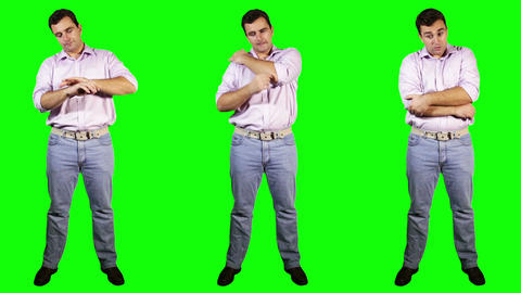 Men Wrist Shoulder Elbow Pain Bundle Full Body Greenscreen Stock Video Footage