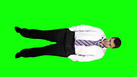 Young Businessman Bankrupt Full Body Greenscreen 42 Footage