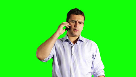 Young Businessman Cell Phone Greenscreen 33 Stock Video Footage