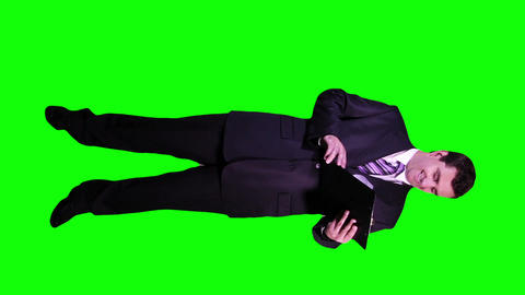 Young Businessman Checking Documents Happy Full Body Greenscreen 66 Footage