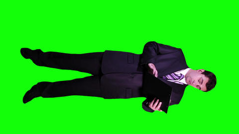 Young Businessman Checking Documents Not Happy Full Body Greenscreen 68 Footage