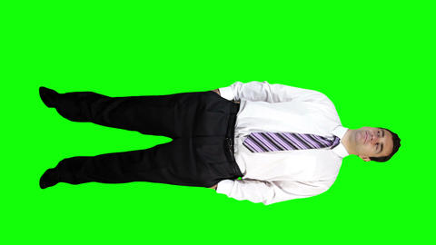 Young Businessman Confident Full Body Greenscreen 45 Footage
