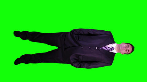 Young Businessman Confident Full Body Greenscreen 47 Stock Video Footage