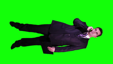Young Businessman Documents Phone Full Body Greenscreen 71 Footage