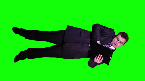 Young Businessman Documents Phone Full Body Greenscreen 71 Stock Video Footage