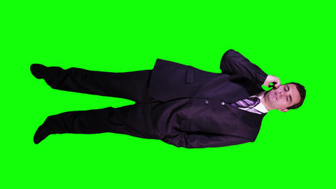 Young Businessman Phone Bad News Full Body Greenscreen 50 Footage