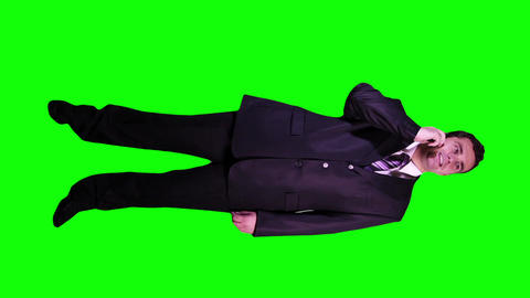 Young Businessman Phone Good News Full Body Greenscreen 53 Stock Video Footage