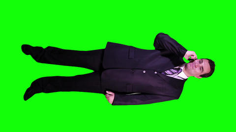 Young Businessman Phone Good News Full Body Greenscreen 53 Footage