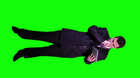 Young Businessman Tablet PC Bad News Full Body Greenscreen 61 Footage