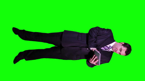 Young Businessman Tablet PC Good News Full Body Greenscreen 60 Footage