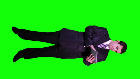 Young Businessman Tablet PC Phone Full Body Greenscreen 62 Stock Video Footage