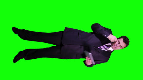 Young Businessman Tablet PC Phone Full Body Greenscreen 62 Footage