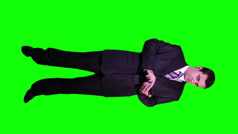 Young Businessman Touchscreen Phone Full Body Greenscreen 54 Footage