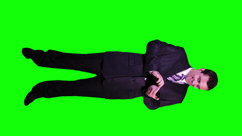Young Businessman Touchscreen Phone Good News Full Body Greenscreen 58 Footage