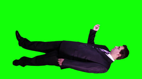 Young Businessman Virtual Board Gestures Full Body Greenscreen 74 Footage