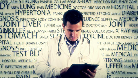 Young Doctor Checking Documents Bad News Medical... Stock Video Footage