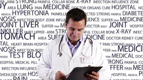 Young Doctor Checking Documents Good News Medical... Stock Video Footage