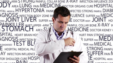 Young Doctor Checking Signing Documents Medical Bakcground 9 Stock Video Footage