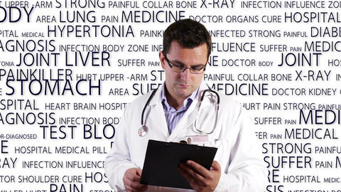 Young Doctor Glasses Checking Documents Medical Bakcground 1 Stock Video Footage