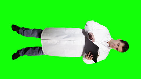 Young Doctor Scientist Full Body Checking Signs Documents... Stock Video Footage