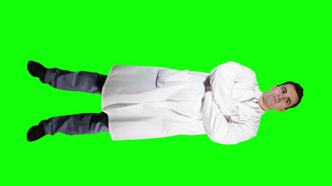 Young Doctor Scientist Full Body Greenscreen 2 Stock Video Footage