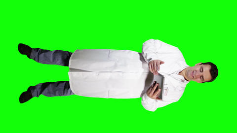 Young Doctor Scientist Full Body Tablet PC Bad News GS 13 Stock Video Footage