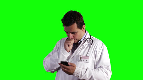 Young Doctor Smartphone Bad News Greenscreen 7 Stock Video Footage