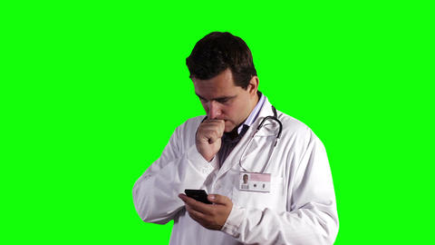 Young Doctor Smartphone Bad News Greenscreen 7 Footage
