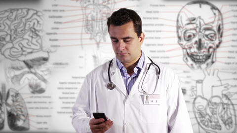 Young Doctor Smartphone Medical Background GS 1 Stock Video Footage