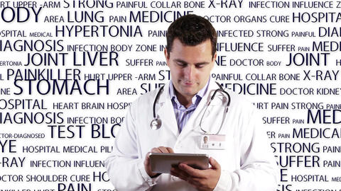 Young Doctor Tablet PC Medical Background 13 Stock Video Footage