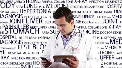 Young Doctor Tablet PC Phone Bad News Medical Background 14 Stock Video Footage
