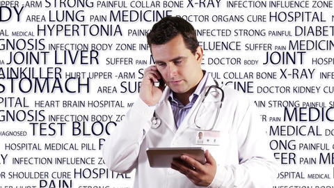 Young Doctor Tablet PC Phone Bad News Medical Background 14 Footage