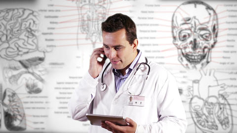 Young Doctor Tablet PC Phone Good News Medical Background... Stock Video Footage