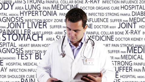 Young Doctor Tablet PC Phone Medical Background 16 Stock Video Footage
