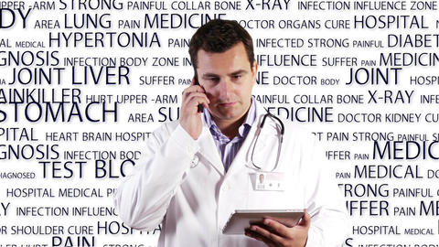 Young Doctor Tablet PC Phone Medical Background 16 Footage