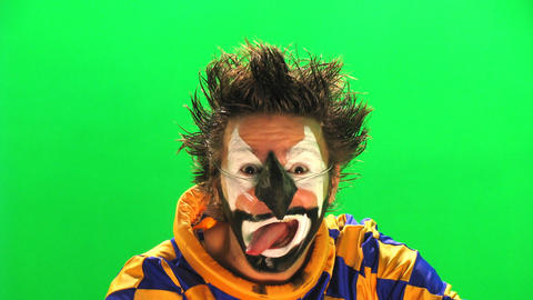 Clown On The Green Screen stock footage
