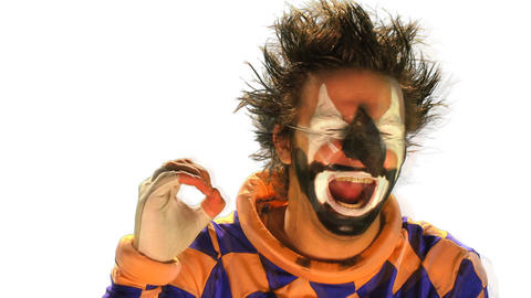 clown on the white screen 021 Footage