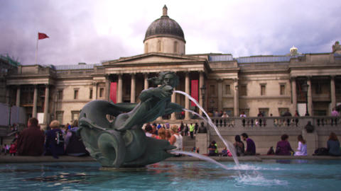 National Gallery entrance in amazing colors Footage