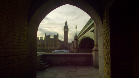 Westminster and Big Ben from a tunnel Footage