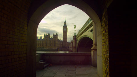 Westminster and Big Ben from the other side of Thames Footage