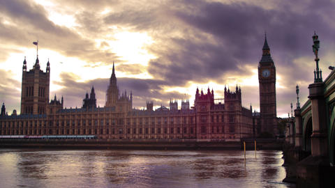 LONDON, OCTOBER 9: Time-lapse of Westminster Palace at dusk on October 9, 2011 i Footage