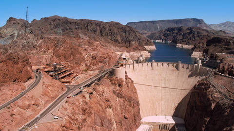 Wide shot of Hoover dam on clear day Footage