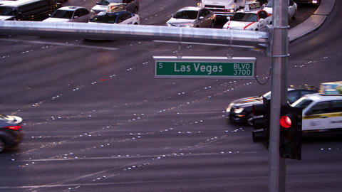 Time lapse of las vegas blvd intersection Footage