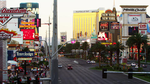 Wide shot of the strip with flashing signs and signs Footage