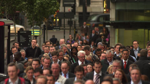 LONDON - OCTOBER 10: Busy sidewalk filled with commuters on October 10, 2011 in  Footage